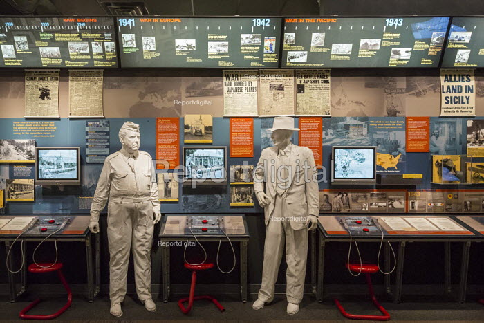 The Bradbury Science Museum exhibition of nuclear weapons research at Los Alamos National Laboratory. A display on The Manhattan Project includes figures of the project head General Leslie R. Groves (left) and its chief scientist, J. Robert Oppenheimer. Los Alamos, New Mexico - Jim West - 2015-10-12