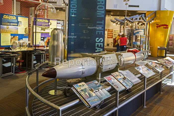 The Bradbury Science Museum exhibition of nuclear weapons research at Los Alamos National Laboratory, including a casing for the B61 nuclear bomb. Los Alamos, New Mexico - Jim West - 2015-10-12