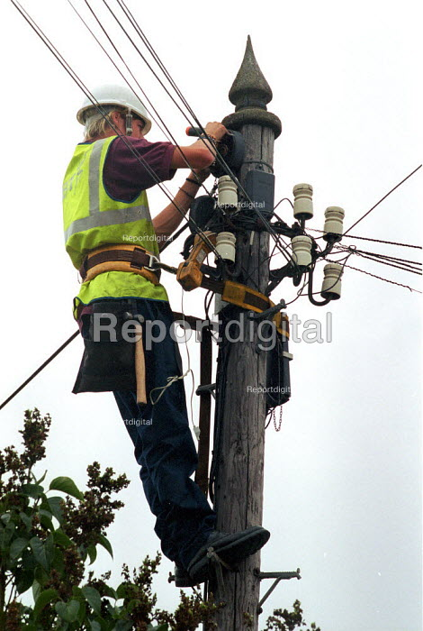 BT engineer repairing a telephone junction box up a telegraph pole. - John Harris - 2000-08-15