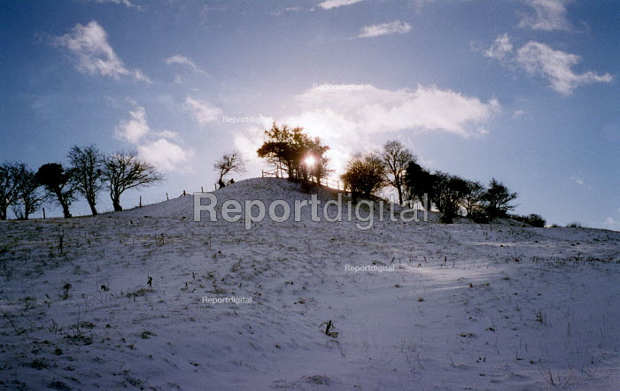 Snow on a footpath across farmland. Dover's Hill in the Cotswolds. - John Harris - 2000-12-26