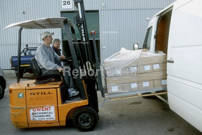 Loading a van by fork lift truck at printing factory. - John Harris - 2001-04-04