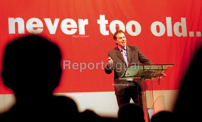 Prime Minister Tony Blair MP Labour Party general election campaign rally of pensioners. Gloucester - John Harris - 2001-05-19