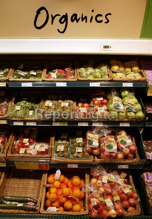 Organic produce on the shelves, Safeways Supermarket. - John Harris - 2003-06-03