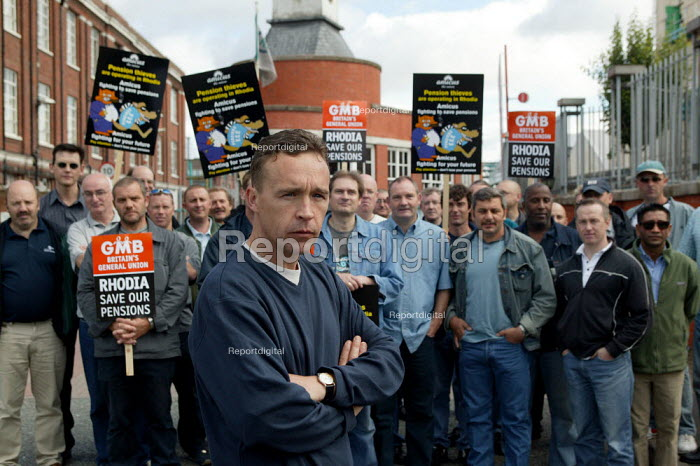 Striking workers outside the French owned Rhodia factory gates at Oldbury. This is the first time British industrial workers have taken strike action to defend a pension scheme. - John Harris - 2003-07-18