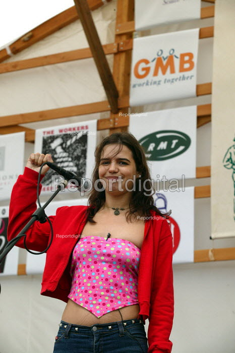 Ana Lopez of the International Union of Sex Workers IUSW and a GMB Branch Sec. speaking at Tolpuddle Martyrs Festival Dorset. - John Harris - 2003-07-20