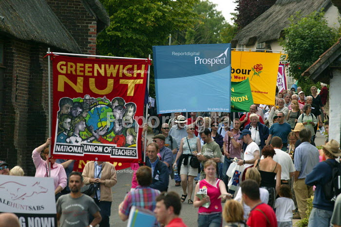 NUT and Prospect banners, Tolpuddle Martyrs Festival Dorset. - John Harris - 2003-07-20