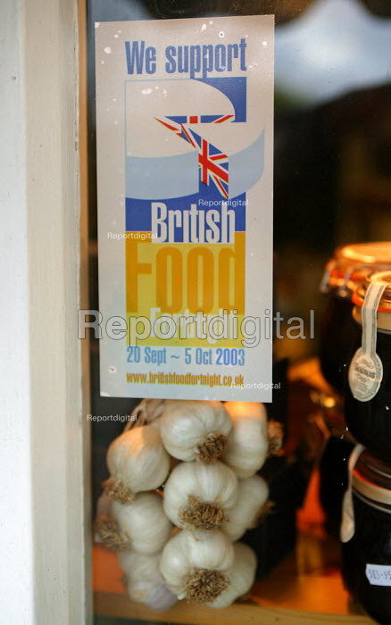 A We Support British Food Fortnight sticker in a village store in the Cotswalds. Taste of the Country local shop. Produce is fresh and local. - John Harris - 2003-11-29