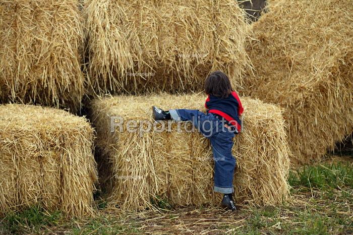 Emilio climbing on to straw bales on a farm in Warwickshire - John Harris - 2004-03-06
