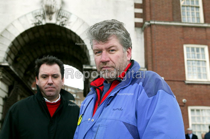 Andy Gilchrist Gen Sec FBU with Steve Godward at a lobby of the West Midlands Fire Authority against his victimisation following the FBU strike. - John Harris - 2004-03-22