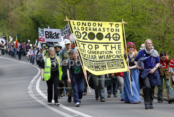 CND march to Aldermaston in a protest against nuclear weapons at the Atomic Weapons Establishment. The origional march took place in 1958. - John Harris - 2004-04-12