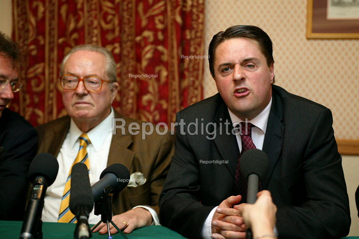 Jean-Marie Le Pen of the French National Front and Nick Griffin BNP leader. Manchester. - John Harris - 2004-04-25