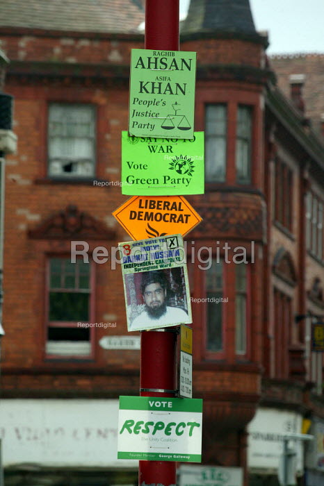 Local council election posters, showing Muslim candidate for the People's Justice Party, Liberal Democrats, Green Party, Respect, Labour Party, Independent and Conservatives candidates, Sparkbrook ward, Birmingham. - John Harris - 2004-06-09