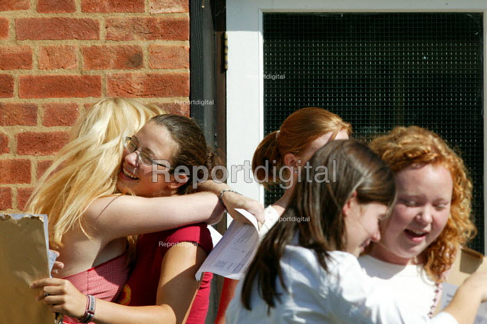 Pupils and their A level results, Shottery Grammar School for Girls, Stratford upon Avon. - John Harris - 2004-08-19