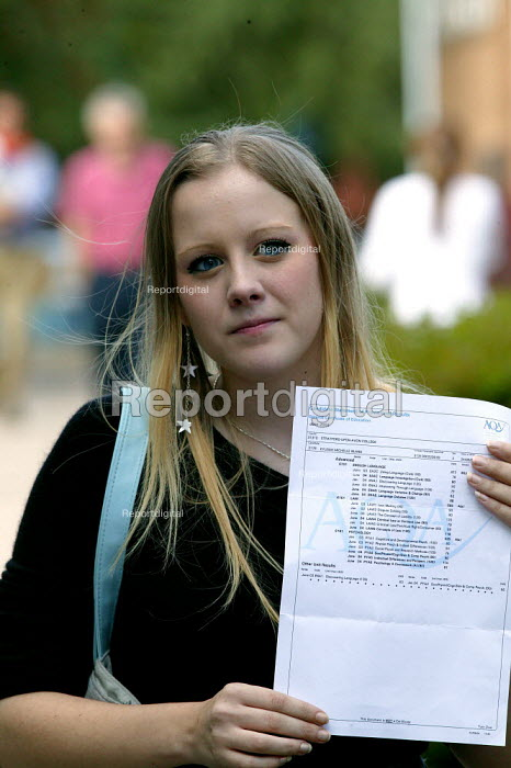 Student with her A level pass marks, Stratford upon Avon College. - John Harris - 2004-08-19