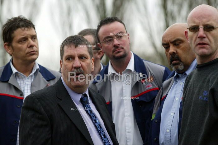 Carl Chinn with upset and angry workers as MG Rover goes into receivership and 5000 are made redundant. MG Rover Group Longbridge Birmingham. - John Harris - 2005-04-15