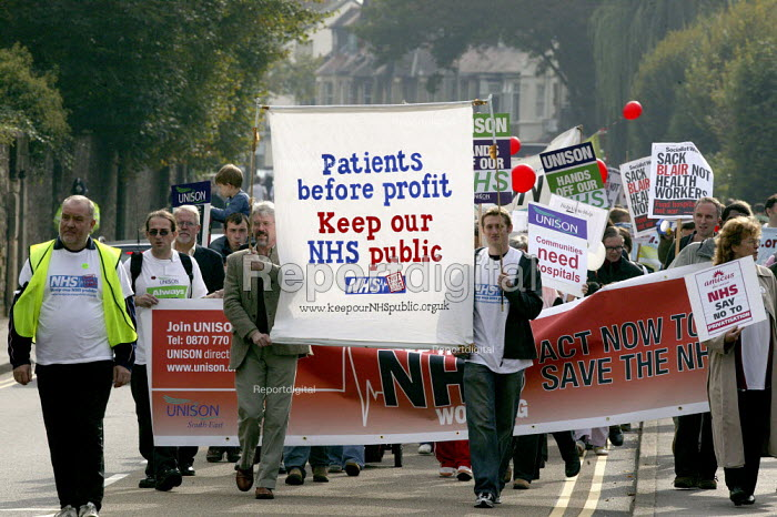 Protest against cuts in the NHS and privatisation of the health service, Oxford - John Harris - 2006-10-14