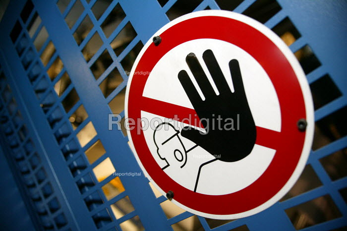 Health and Safety sign on a machine, printing factory Corby - John Harris - 2007-01-16