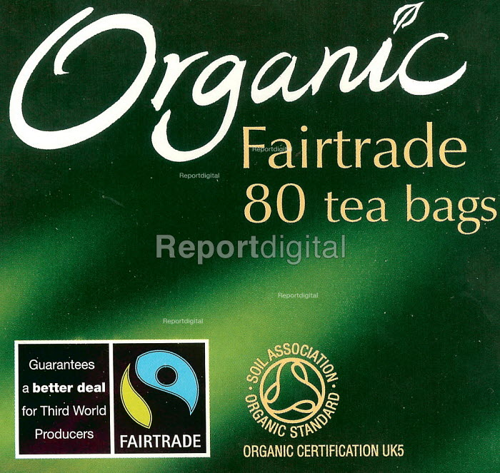 Packaging of a packet of Organic Fairtrade tea bags from India, Sri Lanka and Africa on sale in a supermarket. - John Harris - 2007-04-11