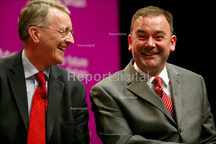 Deputy leadership candidates Hilary Benn, and Jon Cruddas sharing a joke at the hustings. - John Harris - 2007-05-21