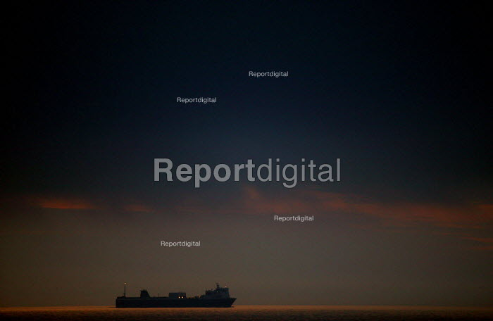 Ro-Ro car ferry passing close to the coast at night. North Sea. - John Harris - 2007-07-26