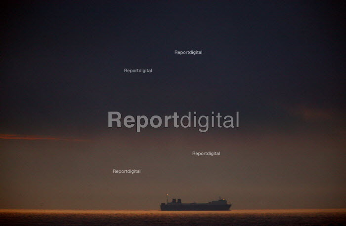 Ro-Ro car ferry passing close to the coast at night. North Sea. - John Harris - 2007-07-26