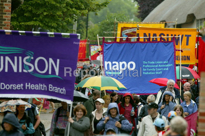 Unison and Napo banners Tolpuddle Martyrs Festival, Dorset. - John Harris - 2007-07-15