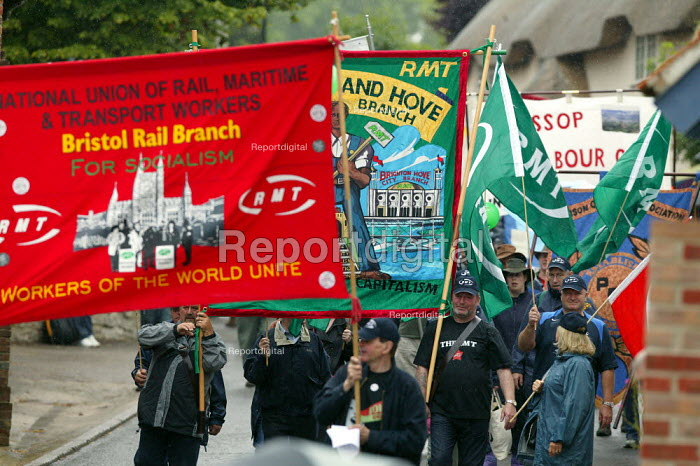 RMT banners, Tolpuddle Martyrs Festival, Dorset. - John Harris - 2007-07-15