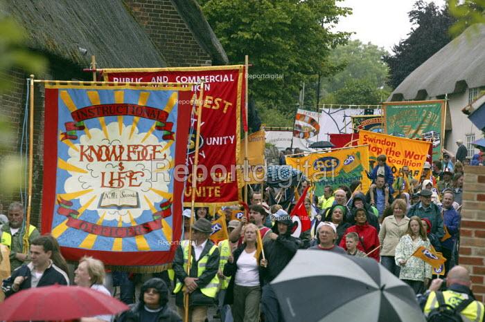 PCS banners, Tolpuddle Martyrs Festival, Dorset. - John Harris - 2007-07-15