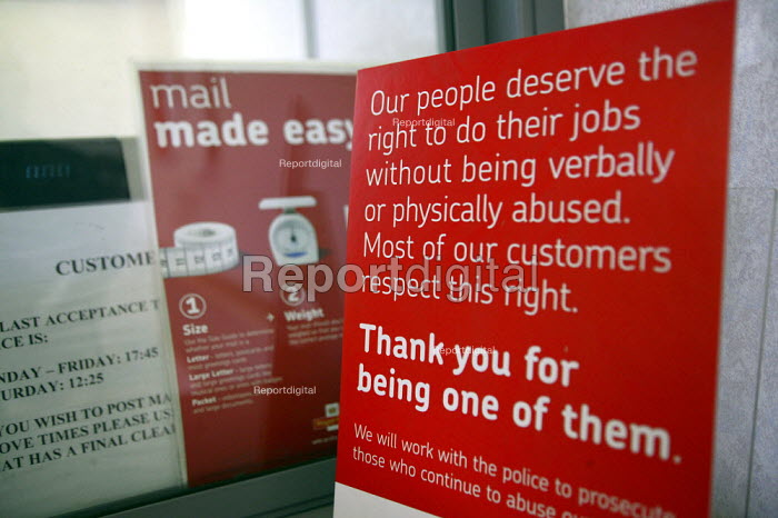A sign on a sorting office counter warning the public not to verbally or physically abuse staff. - John Harris - 2007-08-08