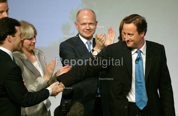 David Cameron shaking hands with George Osborne MP after addressing Conservative Party Conference Blackpool - John Harris - 2007-10-03