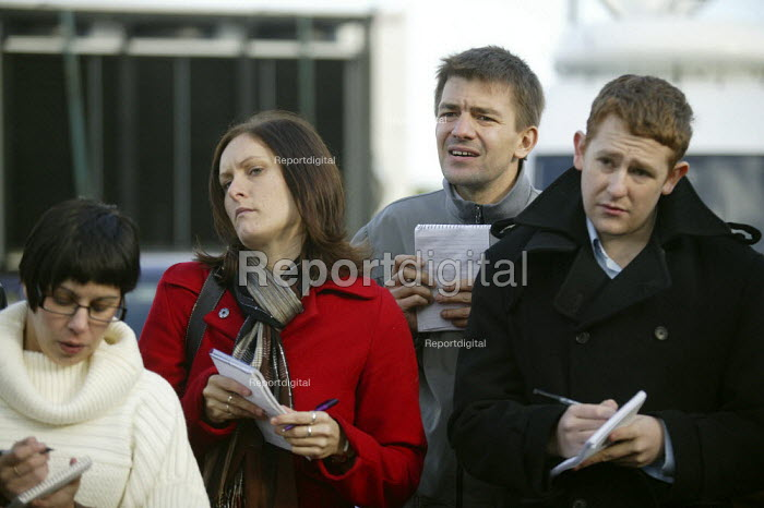 Reporters at a press conference about the search for the firefighters who died in the fire at the Atherstone warehouse. Four firefighters are believed to have died tackling the blaze. Packhouse at Bomfords Ltd Atherstone Industrial Estate, Stratford upon Avon. - John Harris - 2007-11-06