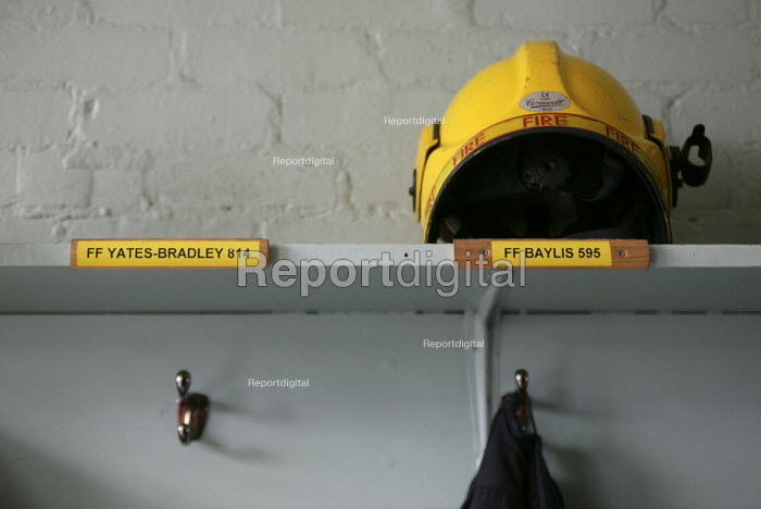 The space in the locker room for the helmet and tunic of Darren Yates Badley at Alcester Fire Station. Four firefighters died in the fire at the Atherstone warehouse. - John Harris - 2007-11-08
