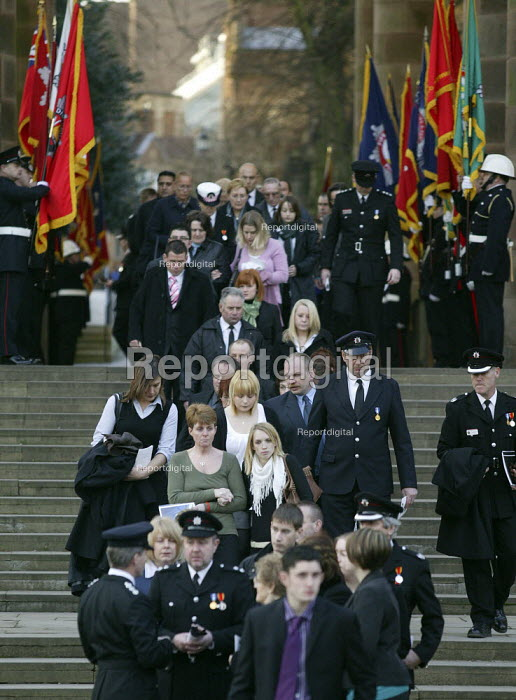 Family and friends leaving as hundreds of firefighters attended a memorial service to remember four of their colleagues killed in a warehouse blaze in Warwickshire. Ashley Stephens, 20, John Averis, 27, Darren Yates-Badley, 24, and Ian Reid, 44, died as the result of the fire in Atherstone-on-Stour on 2 November. Around 1,400 people attended the service at Coventry Cathedral. - John Harris - 2008-01-25