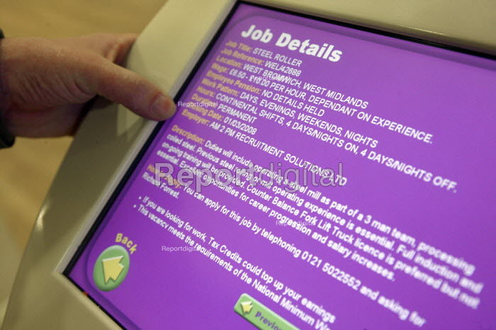 Using a kiosk at Jobcentre Plus in West Bromwich. - John Harris - 2008-02-20