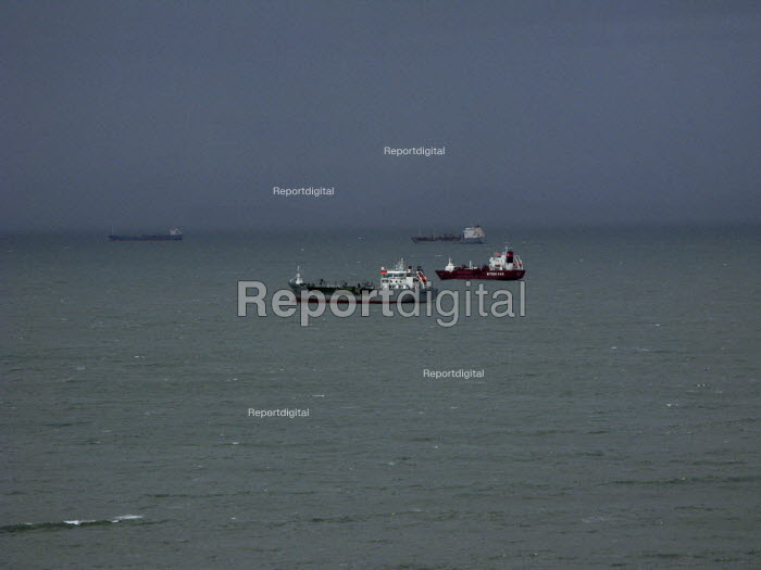 Tankers at anchor, St Brides Bay, Pembrokeshire - John Harris - 2008-02-05