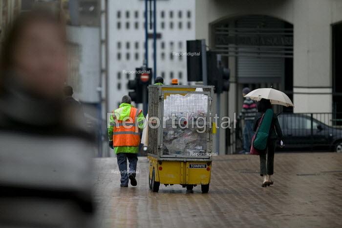 A street cleaner pulling a refuse cart, Birmingham - John Harris - 2008-05-17