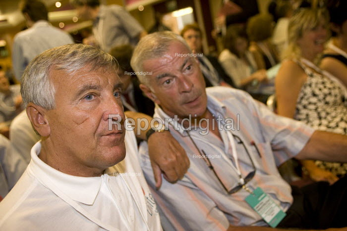 Tony Woodley and Tony Dubbins Unite, Labour Party National Policy Forum, Warwick. - John Harris - 2008-07-25