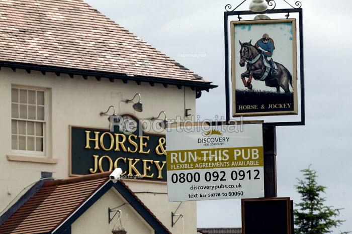 To Lease sign on a closed pub, Horse and Jockey, Ripley, Derbyshire - John Harris - 2008-07-08