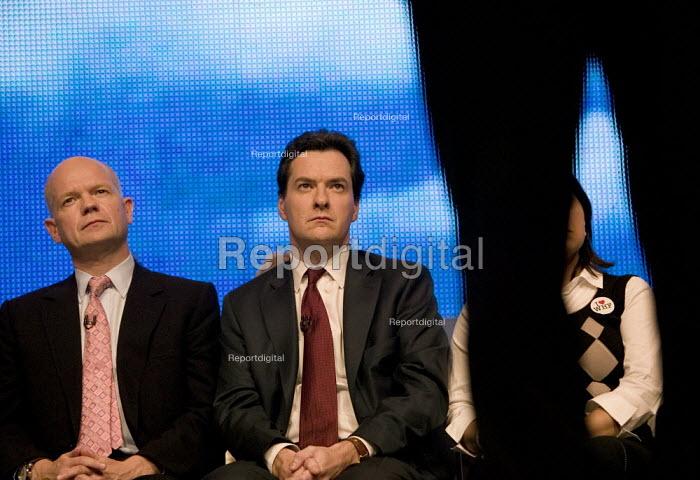William Hague and George Osborne listening to David Cameron speaking, Conservative Party Conference 2008 Birmingham. - John Harris - 2008-09-28