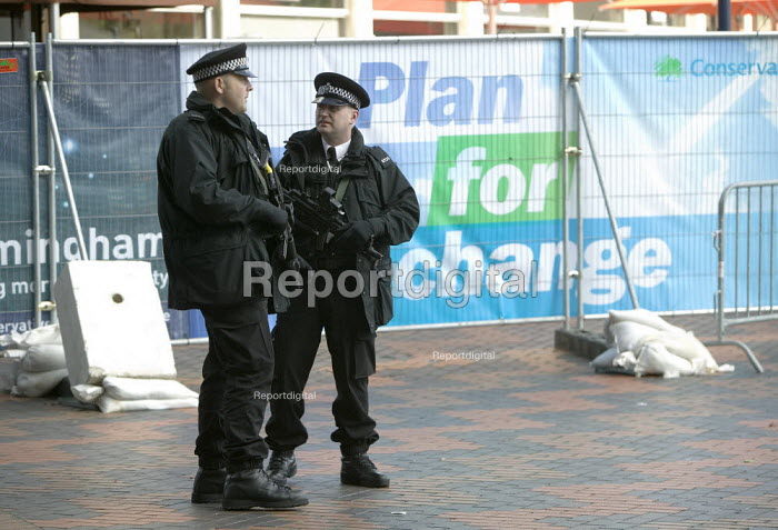 Armed police officers guarding the Conservative Party Conference 2008 Birmingham. - John Harris - 2008-10-01