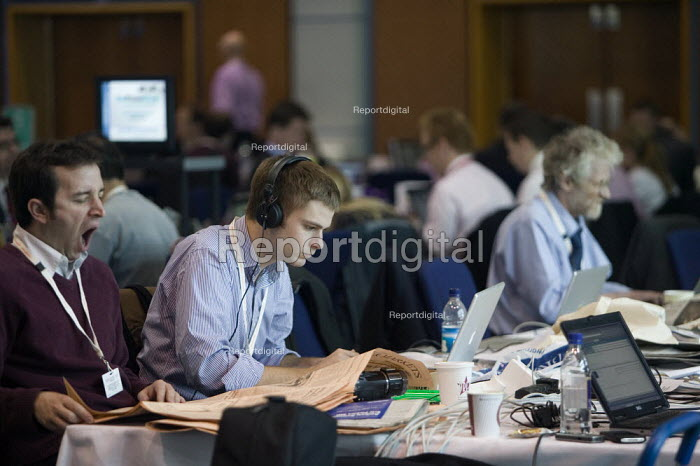 Journalists working in the press room at the Conservative Party Conference 2008 Birmingham. - John Harris - 2008-10-01