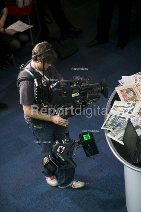 Cameraman filming Daily Politics program at the Conservative Party Conference 2008 Birmingham. - John Harris - 2008-09-30