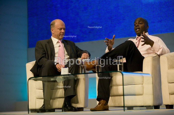 Chris Grayling MP speaking to Shaun Bailey PPC, Conservative Party Conference 2008 Birmingham. - John Harris - 2008-09-30