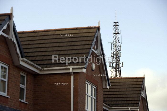 Mobile phone mast near houses, Merthyr Tydfil - John Harris - 2008-12-10