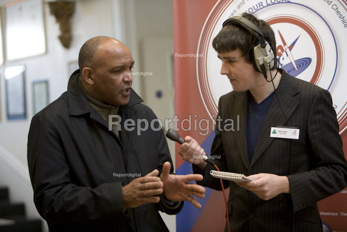 Focal local radio journalist interviewing Unite activist. Migrant workers open day, Stoke on Trent. - John Harris - 2008-12-06