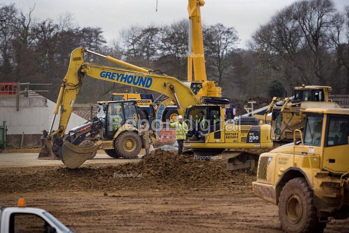 Construction work on the M40 Junction 15 (Longbridge) Bypass, Warwickshire - John Harris - 2009-03-09