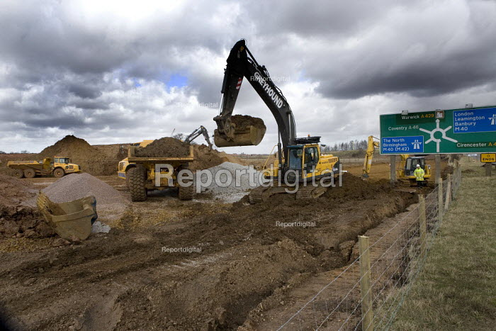 Construction work on the M40 Junction 15 (Longbridge) Bypass, Warwickshire - John Harris - 2009-03-09