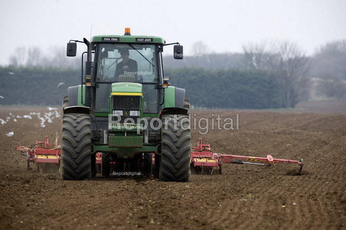 Drilling wheat on a farm, Lincolnshire - John Harris - 2009-03-18