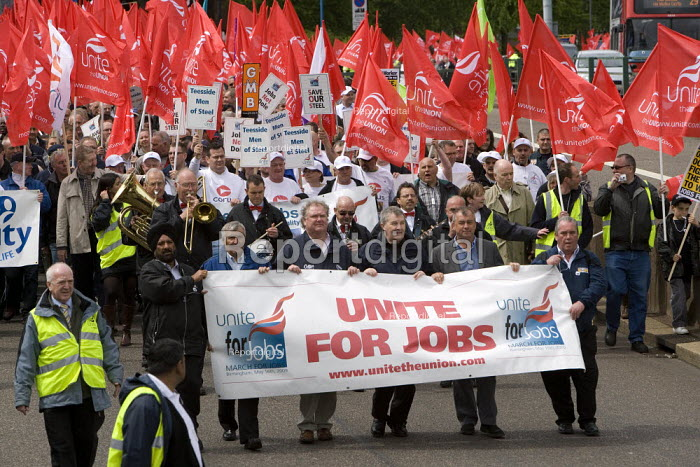 Thousands of trades union members protesting in Birmingham for the government to invest in manufacturing industry and jobs. - John Harris - 2009-05-16