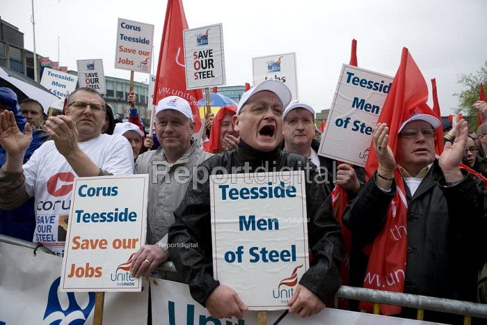 Steelworkers from Corus Teesside. Thousands of trades union members protesting in Birmingham for the government to invest in manufacturing industry and jobs. - John Harris - 2009-05-16
